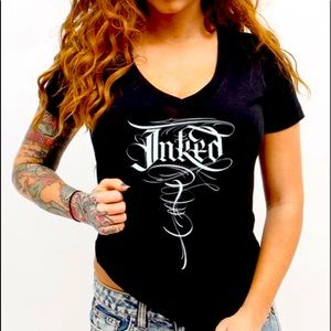 Inked Brand V Neck T-shirt 2xL Letteringby Betts!